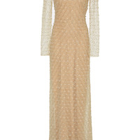 Embroidered Long Sleeve Gown | Moda Operandi
