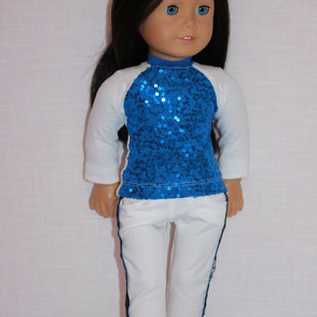 18 inch doll clothes, white and blue shirt with sequins, white cotton skinny pants with lace trim, Upbeat Petites