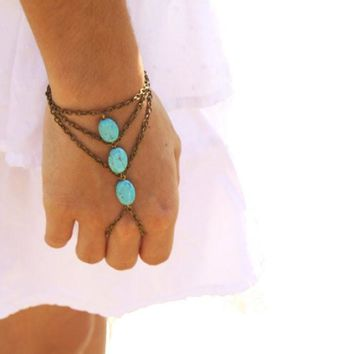 New Multilayer Bronze Turquoise Bracelet Finger Ring Bangle Slave Chain