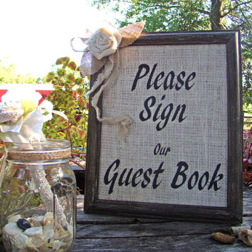 Burlap Guest Book Sign, Wedding Guest Book Sign, Burlap Wedding, Rustic Wedding, Wedding Guest Book, Wedding Sign, Wedding Decoration
