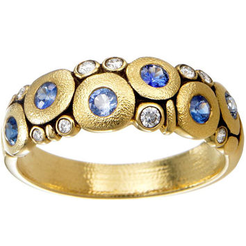 "Alex Sepkus 18k Yellow Gold Sapphire and Diamond ""Candy"" Dome Ring with 0.10 Carats Diamonds and 0.50 Carats Blue Sapphires"