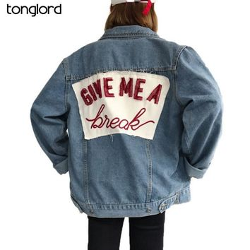 Trendy TongLord 2018 New Autumn Women Denim Jacket Letter Embroidered Hole Single Buttons Jacket Coats Jean Outerwear Basic Coat Femme AT_94_13