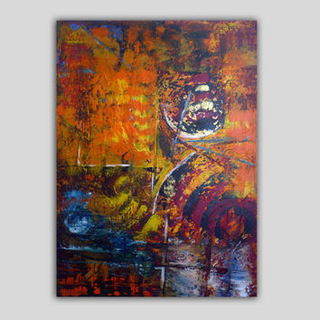 large abstract painting acrylic, modern art   paintings   on gallery, stretched canvas, ready to hang. Blue red orange. Free shipping!