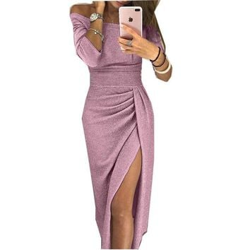 3/4 Sleeve Slash Neck Women Peplum Dress Glitter Sequin Party Dresses Front Split Sparkly Bodycon Clubwear Dress