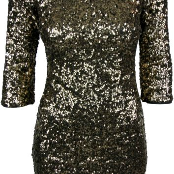 Sequin Three Quarter Sleeve Dress
