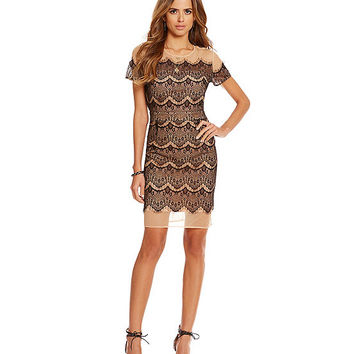 Gianni Bini Carson Illsuion Mesh Scalloped Lace Dress | Dillards