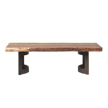 Bent Rustic & Natural Coffee Table Smoked With Unfinished Edges