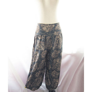 Bohemian Gray Blue Tribal Hippie Zen Moroccan Indie Floral Peony Mexican Twine Meditation Yoga Aladin Lantern Grunge Eco Chic Lounge Pants