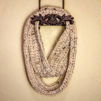 Soft Hand Made Crochet Infinity Scarf, Ribbed Infinity Scarf, Infinity Scarf with Buttons, Crochet