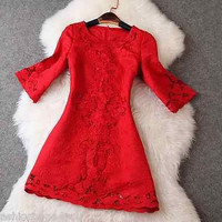 Runway Luxury 3/4 Sleeve dress embroidery red fall winter party cocktail S-XXL