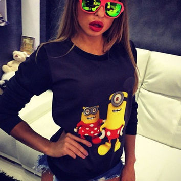 Black Mickey Minions Print Long Sleeve Casual Top