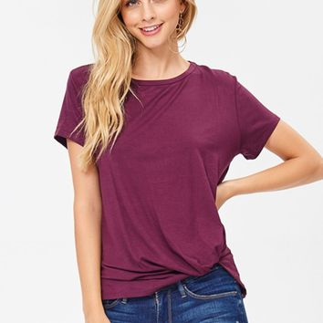 Short Sleeve Knot Tee in Burgundy