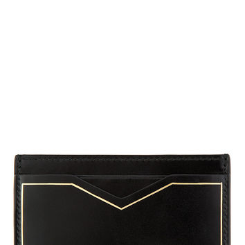 Alexander Mcqueen Black Leather Gold Trim Card Holder
