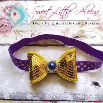 Headband Accessories - Sequin Hairbow - Purple Gold Football Headband - Hair Clip for Women - Newborn Photo Prop - Infant headband