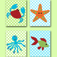 Kids wall art Starfish Nursery Fish Nursery Octopus Nursery Crab Nursery Baby Boy Nursery Baby Room Decor Nursery Print set of 4 8x10 blue