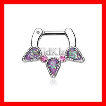 Septum Clicker Opal Purple Sparkle Trident 16g 14g Septum Ring Cartilage Earrings Nipple Ring Circular Barbell Tragus Jewelry Helix Conch