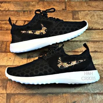 Women's Nike Juvenate shoe in Black/White with SWAROVSKI? crystal cheetah print swoos