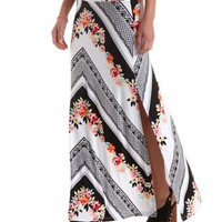 Multi Floral Chevron Print Double Slit Maxi Skirt by Charlotte Russe