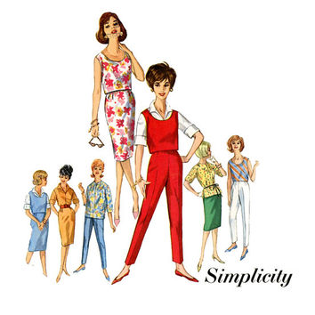 1960s Cigarette Pants Crop Top Pattern Simplicity 4401 31 Bust Womens Vintage Sewing Pattern Misses Top Slim Skirt Skinny Pants Blouse