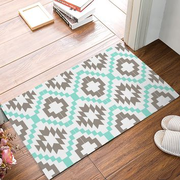 Autumn Fall welcome door mat doormat Vintage Square Pixel Mosaic Decorative Pattern Green And Gray s Kitchen Floor Bath Entrance Rug Mat AT_76_7
