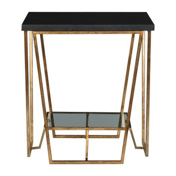 Agnes Black Granite End Table