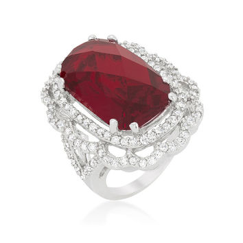 Nahida Ruby Faceted Cut Cocktail Statement Ring | 27ct | Cubic Zirconia | Silver