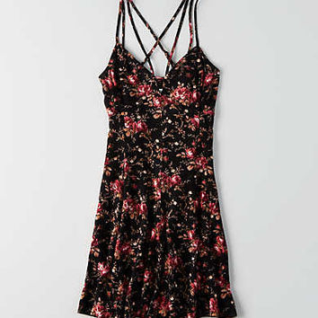 AEO Printed Strappy Dress, Black