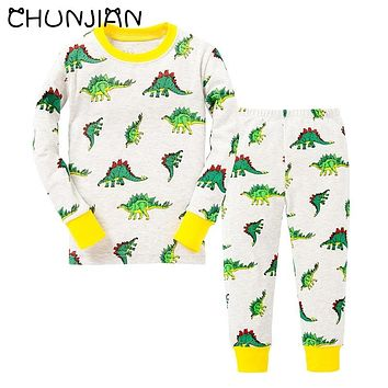 CHUNJIAN 100% cotton boys Santa Claus Christmas Pajamas Children's Sleepwear Baby Dinosaur Night Wears Kids Pyjamas