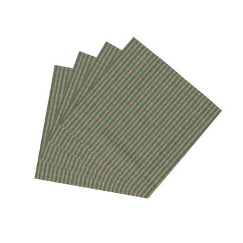 Hunter Green & Tan Homespun Checks Napkin Set of 4