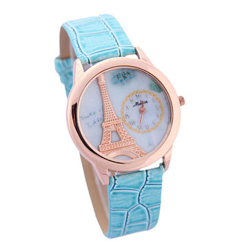Women 3D Eiffel Tower Mint Leather Strap Mrist Watch
