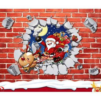 New Arrival Removable 3D Through Santa Claus Reindeer Christmas Window Wall Sticker Wall