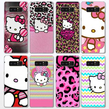 Pink Hello kitty cat Pattern clear frame hard Back Case Cover for Samsung Galaxy Note 8 Note 5 4 S6 S7 S8 S9 Plus