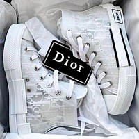 DIOR HIGH -TOP SNEAKER Sneakers transparent plastic skate shoes Women Men Shoes White Lace
