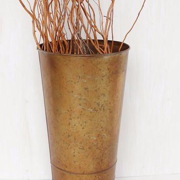 "Galvanized Tin Metal Floral Bucket in Copper - 14"" Tall x 8"" Wide"