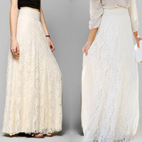 Chiffon Pleated Long Maxi Dress Elastic Waist Skirt