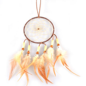 Brown Dream Catcher Rasta Feathers Handmade Wall Car Hanging Ornament Dreamcatcher Home Decoration