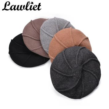Lawliet Women Beret Winter Beanies Sweet Girls French Wool Artist Beret Flat Cap Winter Warm Stylish Painter Trilby Hat
