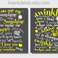 Twinkle Little Star & You Are My Sunshine Wall Art - Choose Any Colors - twenty3stars