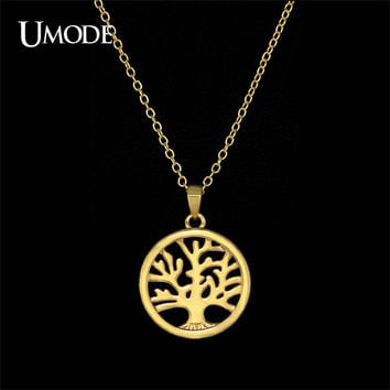 UMODE Handmade Personalized Gold Color Tree of Life Carved Medallion Pendant Necklace With Multi Layer Necklace UN0102A