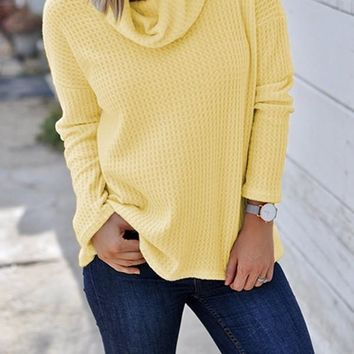 New Yellow Patchwork High Neck Casual Knit T-Shirt