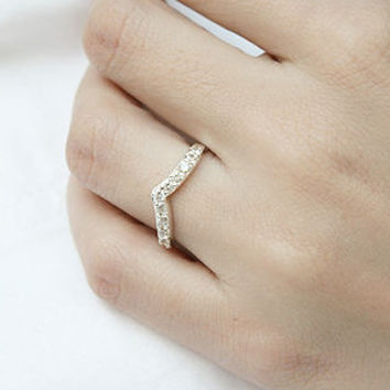 Sharp White Sapphire Silver Ring Sterling Ring .925 Silver Ring Personalized Ring