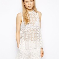 Little White Lies Sequin Daisy Top - White
