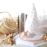 Vintage Petite Glass  Dome Cloche. Woodland Christmas Display. Bambi. Bottle brush Christmas Tree. White Shabby Chic Cottage