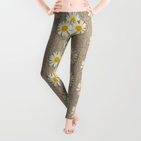 Star fall of fantasy flowers on pearl lace Leggings by Pepita Selles