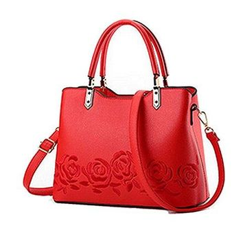 Classically Elegant Womens Red or Grey Handbag / Shoulder Bag w/ Red ( or Grey) Embroidered Roses