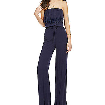 Jolt Strapless Flounce Jumpsuit - Blue Moon