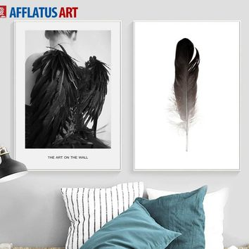 Scandinavia Angel Girl Feather Landscape Wall Art Canvas Painting Nordic Posters And Prints Wall Pictures For Living Room Decor