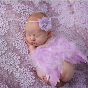 1Set Fashion Newborn Baby Kids Feather Lace Headband & Angel Wings Flowers Photography Studio Props