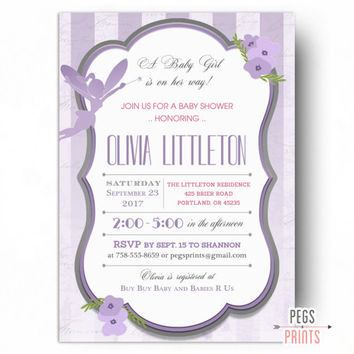 Fairy Baby Shower Invitation - Purple Fairy Invitations - Fairy Princess Baby Shower Invites - PRINTABLE - Floral Baby Shower Invitation