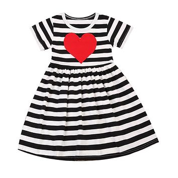 2017 New Summer Dress Toddler Kids Baby Girls Heart Print Striped Dresses Casual Children Clothes Sundress 1-6Y